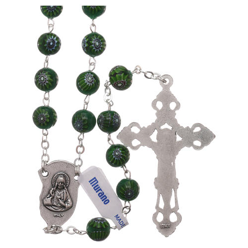 Green Murano glass style rosary beads with floral decorations, 8mm 2