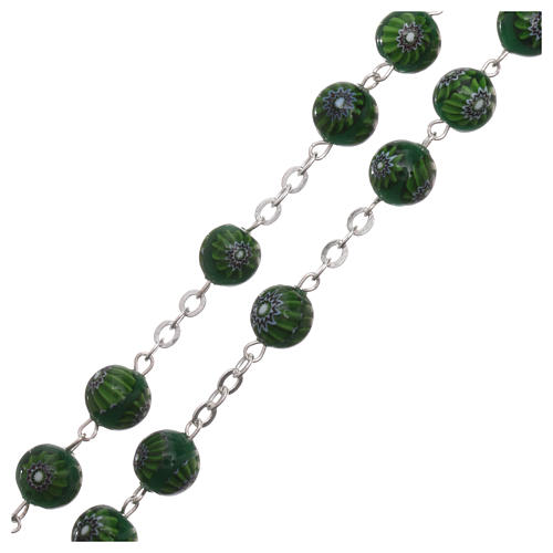 Green Murano glass style rosary beads with floral decorations, 8mm 3