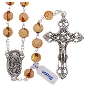 Murano glass rosaries: Rosary beads in Murano glass style topaz colour 8mm
