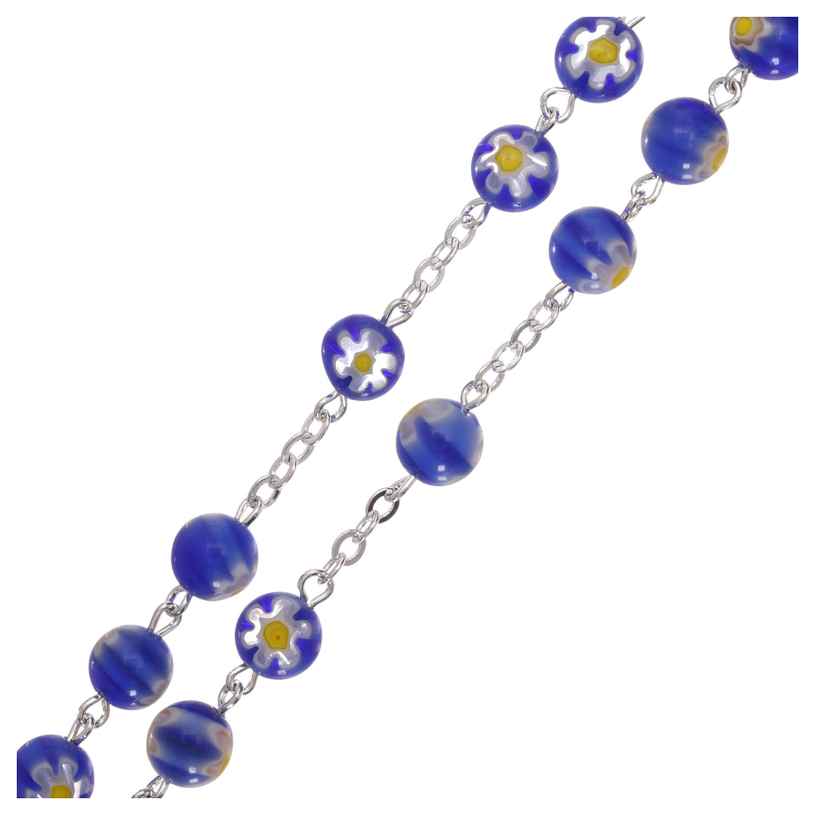 Rosary beads in blue Murano glass style 8mm 4