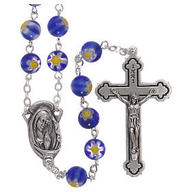 Rosario vidrio estilo Murrina azul motivo floreal cuentas 8 mm s1