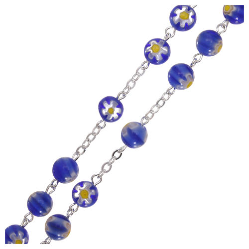 Rosario vidrio estilo Murrina azul motivo floreal cuentas 8 mm 3