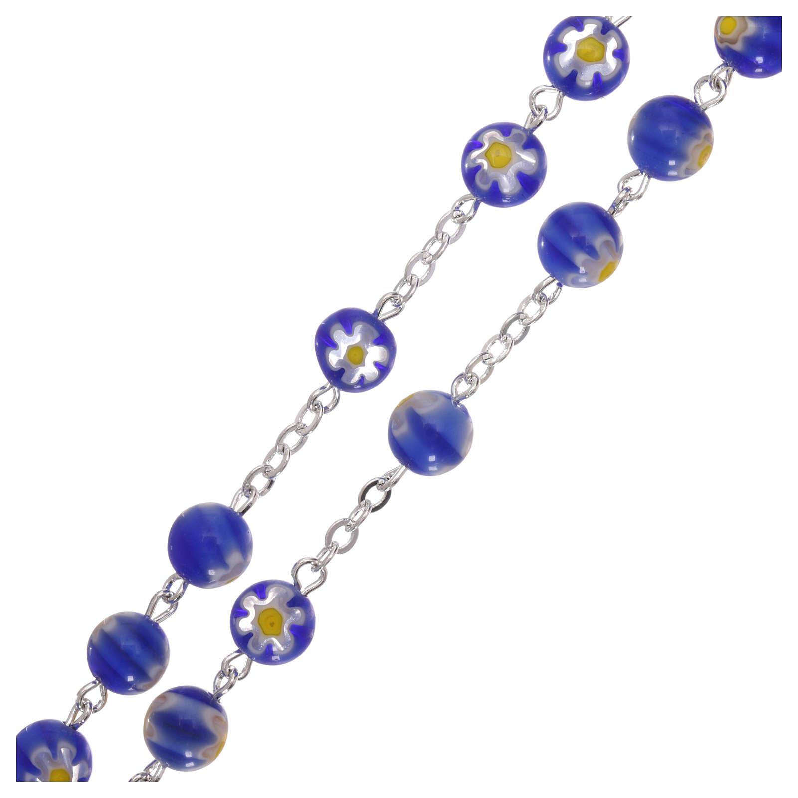 Chapelet en verre style Murrina couleur bleue avec motifs floraux 8 mm 4
