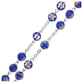 Chapelet en verre style Murrina couleur bleue avec motifs floraux 8 mm s3
