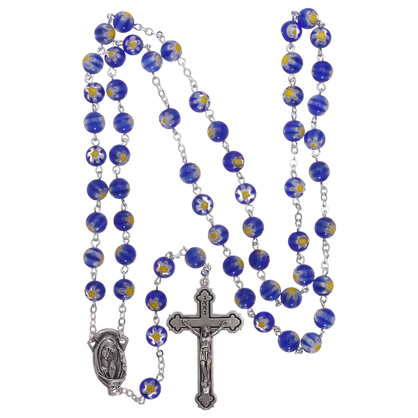 Rosario in vetro stile murrina color blu con motivi floreali dei grani 8 mm 4