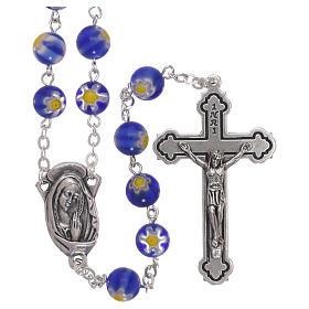 Rosario in vetro stile murrina color blu con motivi floreali dei grani 8 mm s1