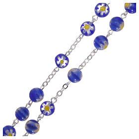 Rosario in vetro stile murrina color blu con motivi floreali dei grani 8 mm s3