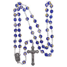 Rosario in vetro stile murrina color blu con motivi floreali dei grani 8 mm s4