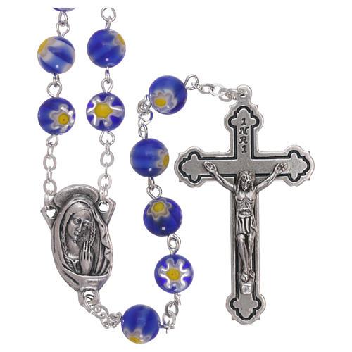Rosario in vetro stile murrina color blu con motivi floreali dei grani 8 mm 1