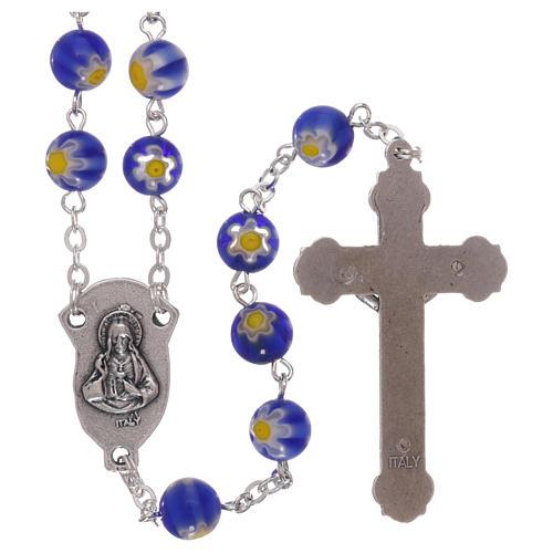 Rosario in vetro stile murrina color blu con motivi floreali dei grani 8 mm 2