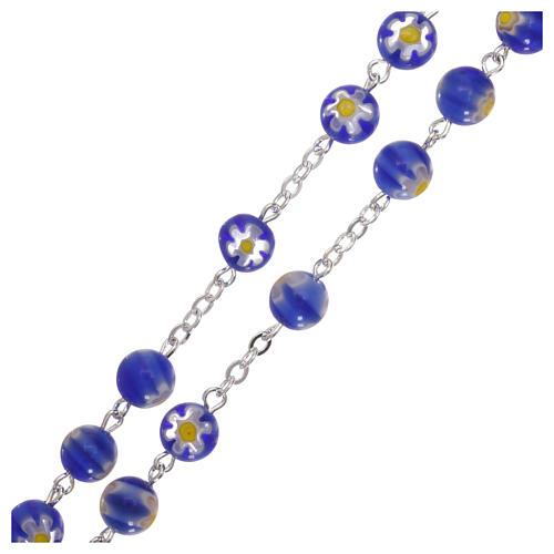 Rosario in vetro stile murrina color blu con motivi floreali dei grani 8 mm 3