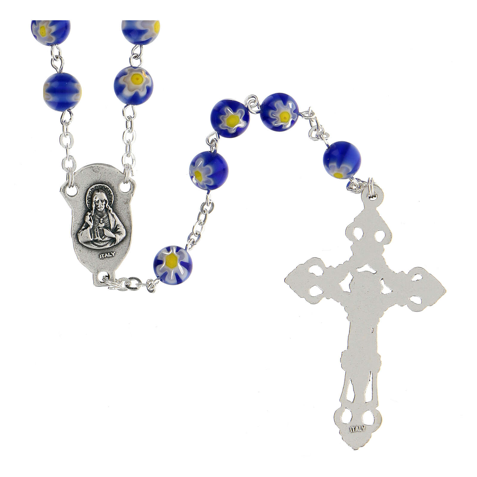 Blue Murano glass style rosary beads, 8mm 4