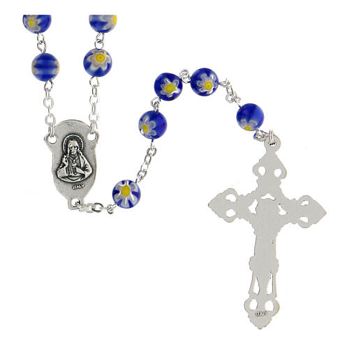 Blue Murano glass style rosary beads, 8mm 2