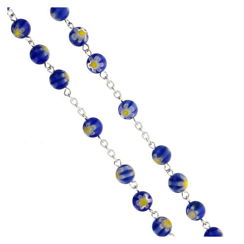 Blue Murano glass style rosary beads, 8mm 3
