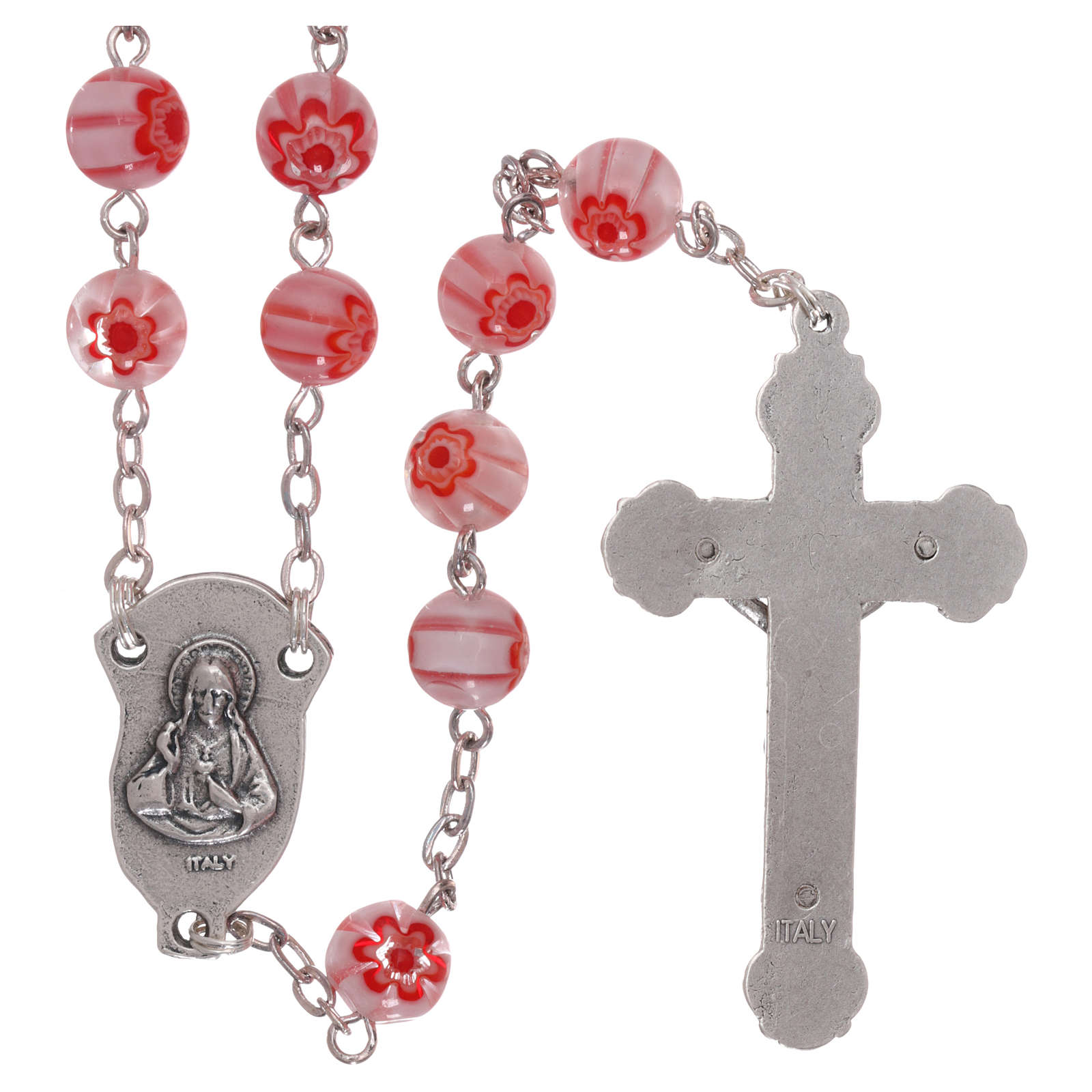Rosary in glass murrine style with flowers and striping on pink grains 8 mm 4