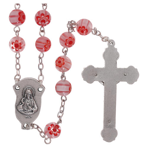 Rosary in glass murrine style with flowers and striping on pink grains 8 mm 2