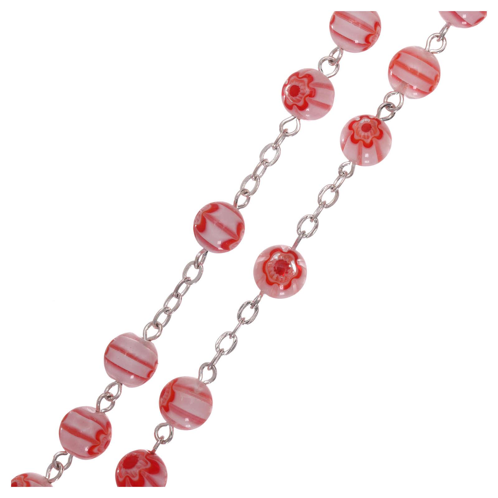 Chapelet en verre style Murrina couleur rose avec motifs floraux et rayures 8 mm 4