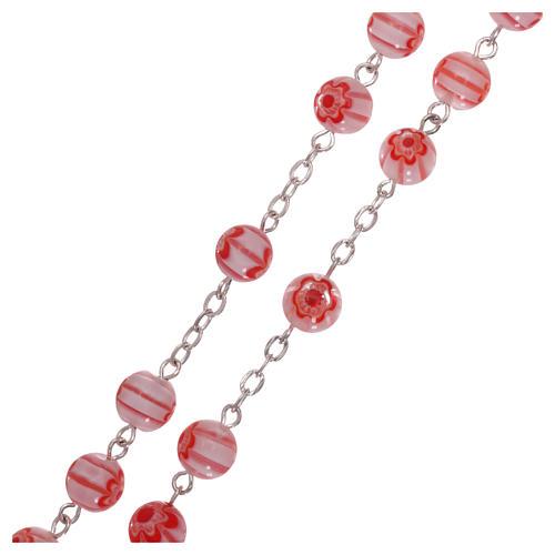 Chapelet en verre style Murrina couleur rose avec motifs floraux et rayures 8 mm 3