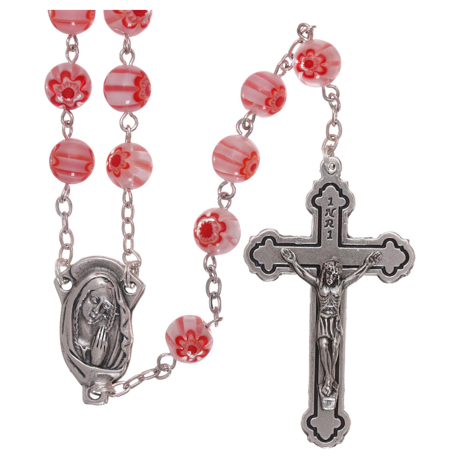 Rosario in vetro stile murrina color rosa con motivi floreali e striature 8 mm 4