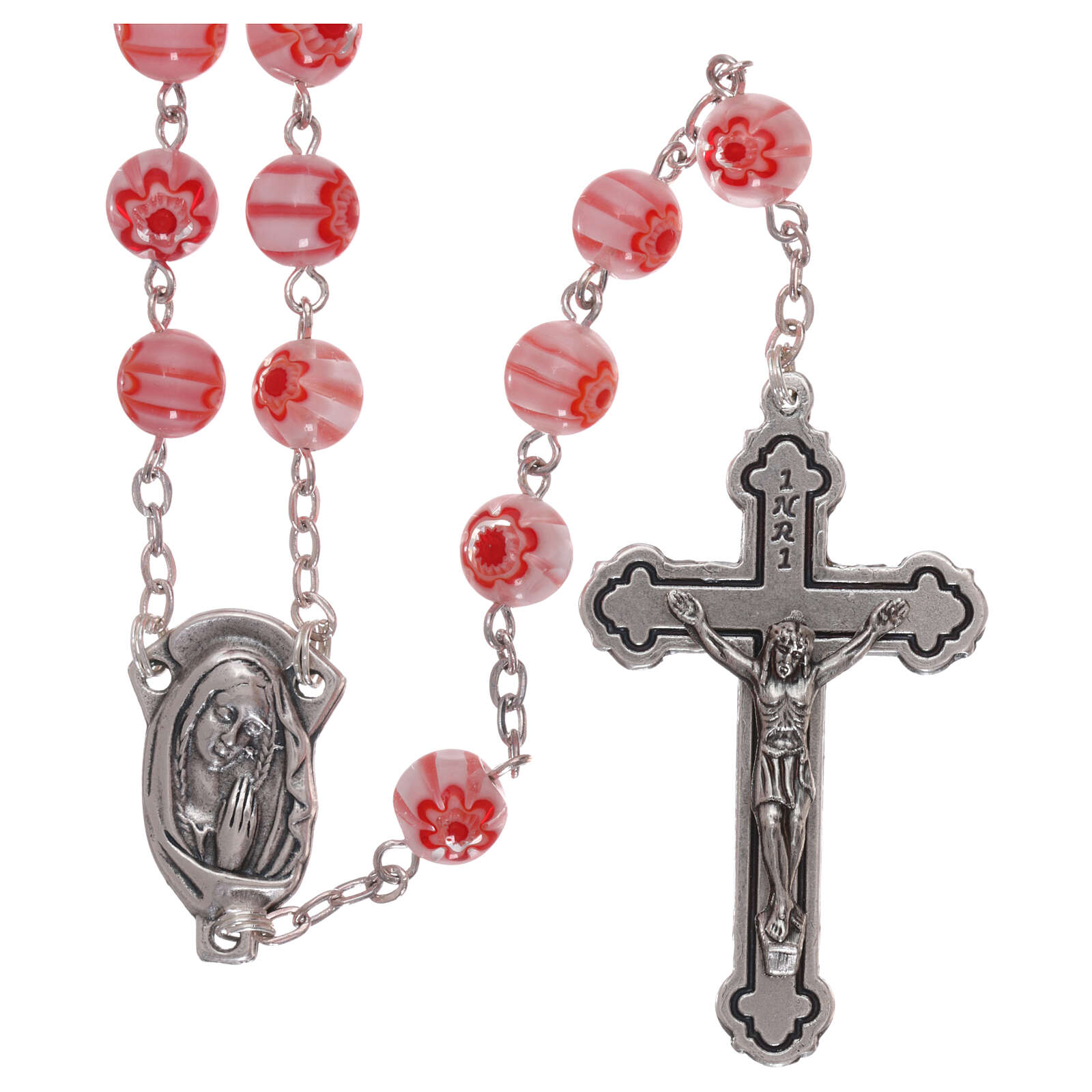 Glass rosary with pink beads with floral pattern and stripes in murrina style 8 mm 4
