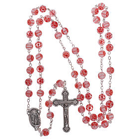 Glass rosary with pink beads with floral pattern and stripes in murrina style 8 mm s4