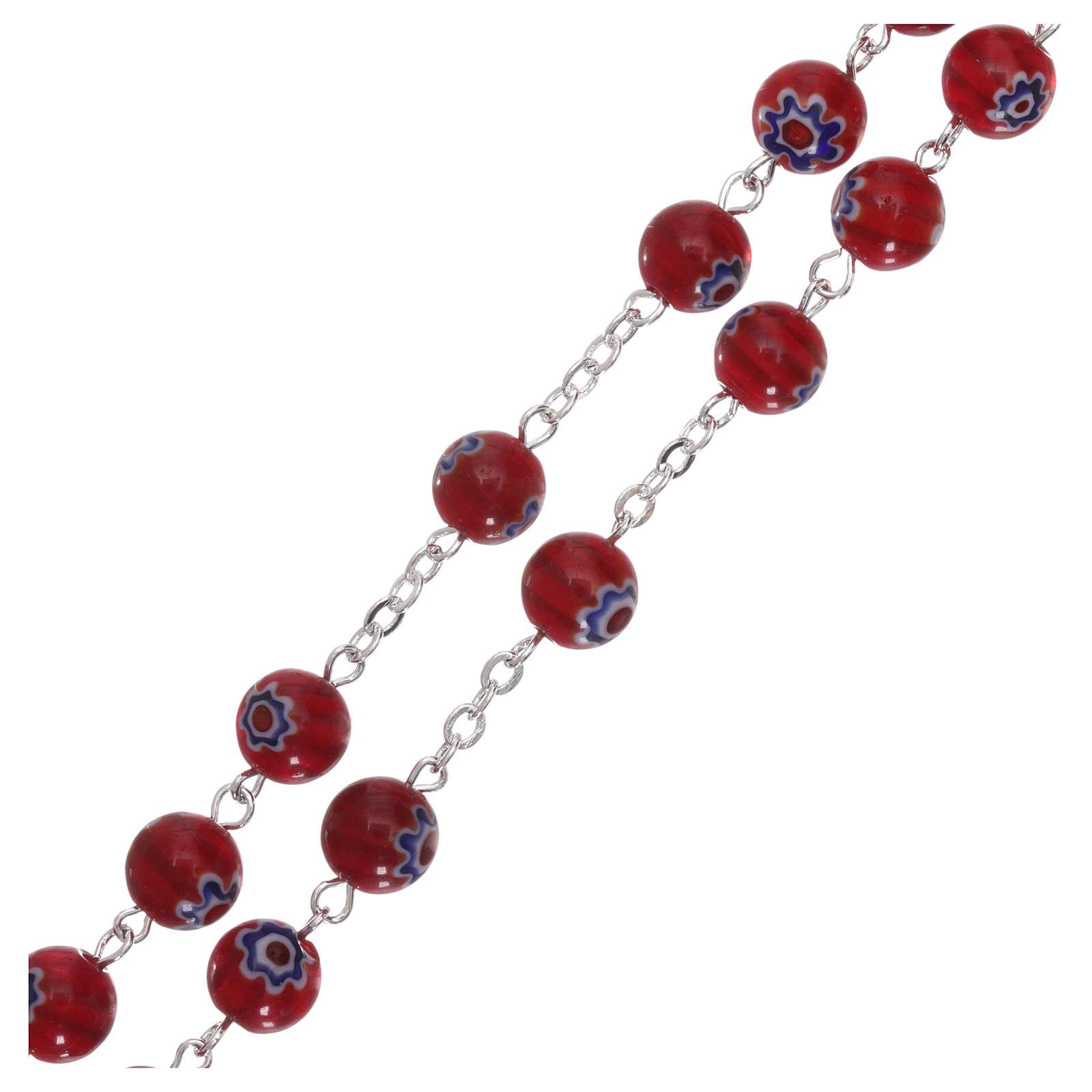 Chapelet en verre style Murrina couleur rouge avec motifs floraux et rayures 8 mm 4