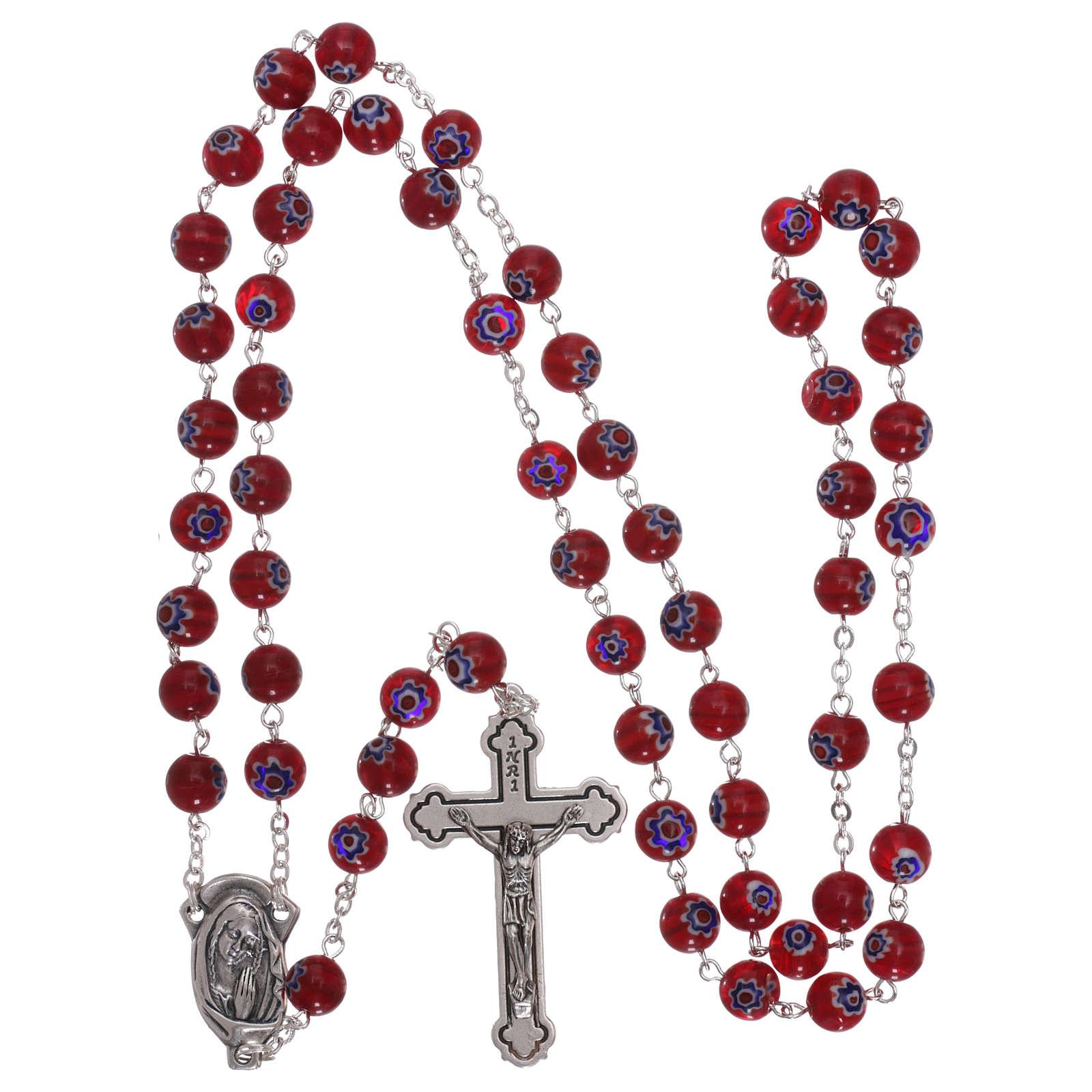 Rosario in vetro stile murrina color rosso con motivi floreali e striature 8 mm 4