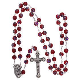 Rosario in vetro stile murrina color rosso con motivi floreali e striature 8 mm s4