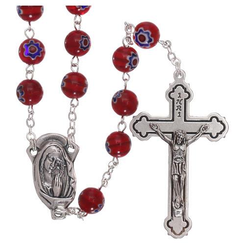 Rosario in vetro stile murrina color rosso con motivi floreali e striature 8 mm 1