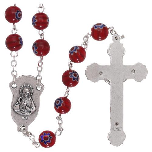 Rosario in vetro stile murrina color rosso con motivi floreali e striature 8 mm 2