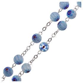 Rosenkranz mit blauen Glasperlen im Murrina-Stil mit floralen Motiven 8 mm s3