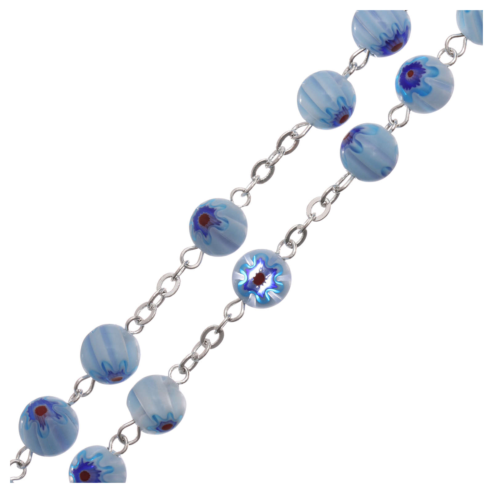 Rosary in glass murrine style with flowers and striping on light blue grains 8 mm 4