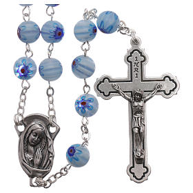 Rosary in glass murrine style with flowers and striping on light blue grains 8 mm s1