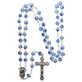 Rosary in glass murrine style with flowers and striping on light blue grains 8 mm s4