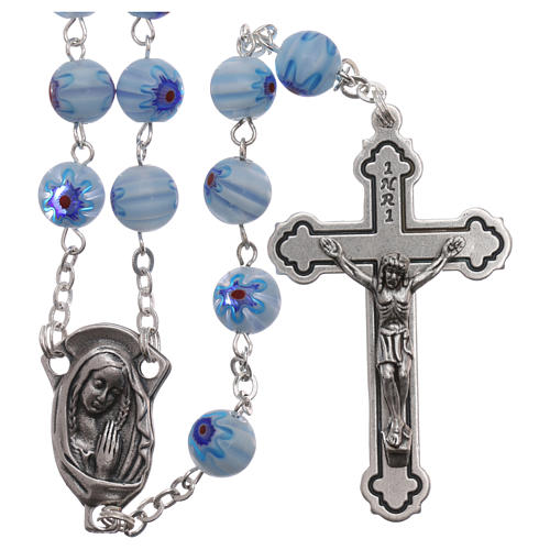 Rosary in glass murrine style with flowers and striping on light blue grains 8 mm 1