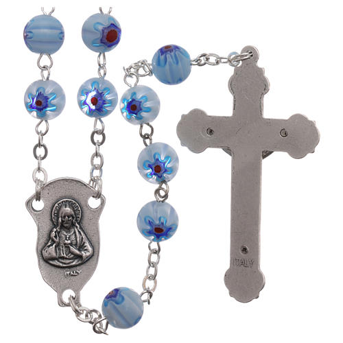 Rosary in glass murrine style with flowers and striping on light blue grains 8 mm 2