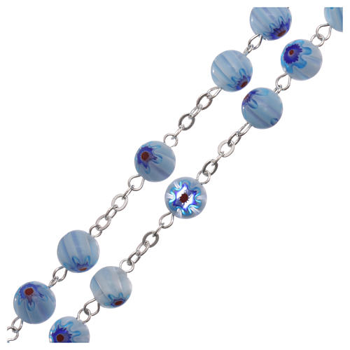 Rosary in glass murrine style with flowers and striping on light blue grains 8 mm 3