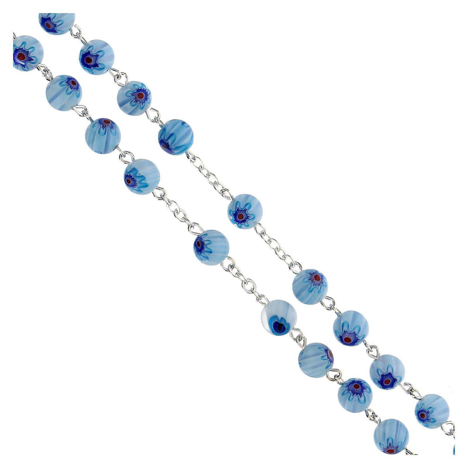 Rosario in vetro stile murrina color acqua con motivi floreali 8 mm 4