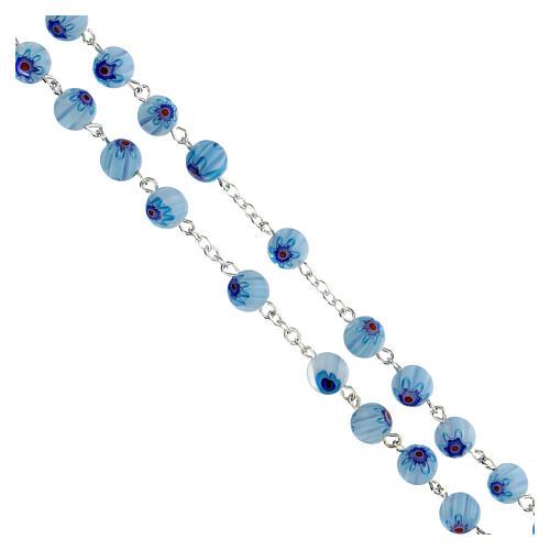 Rosario in vetro stile murrina color acqua con motivi floreali 8 mm 3