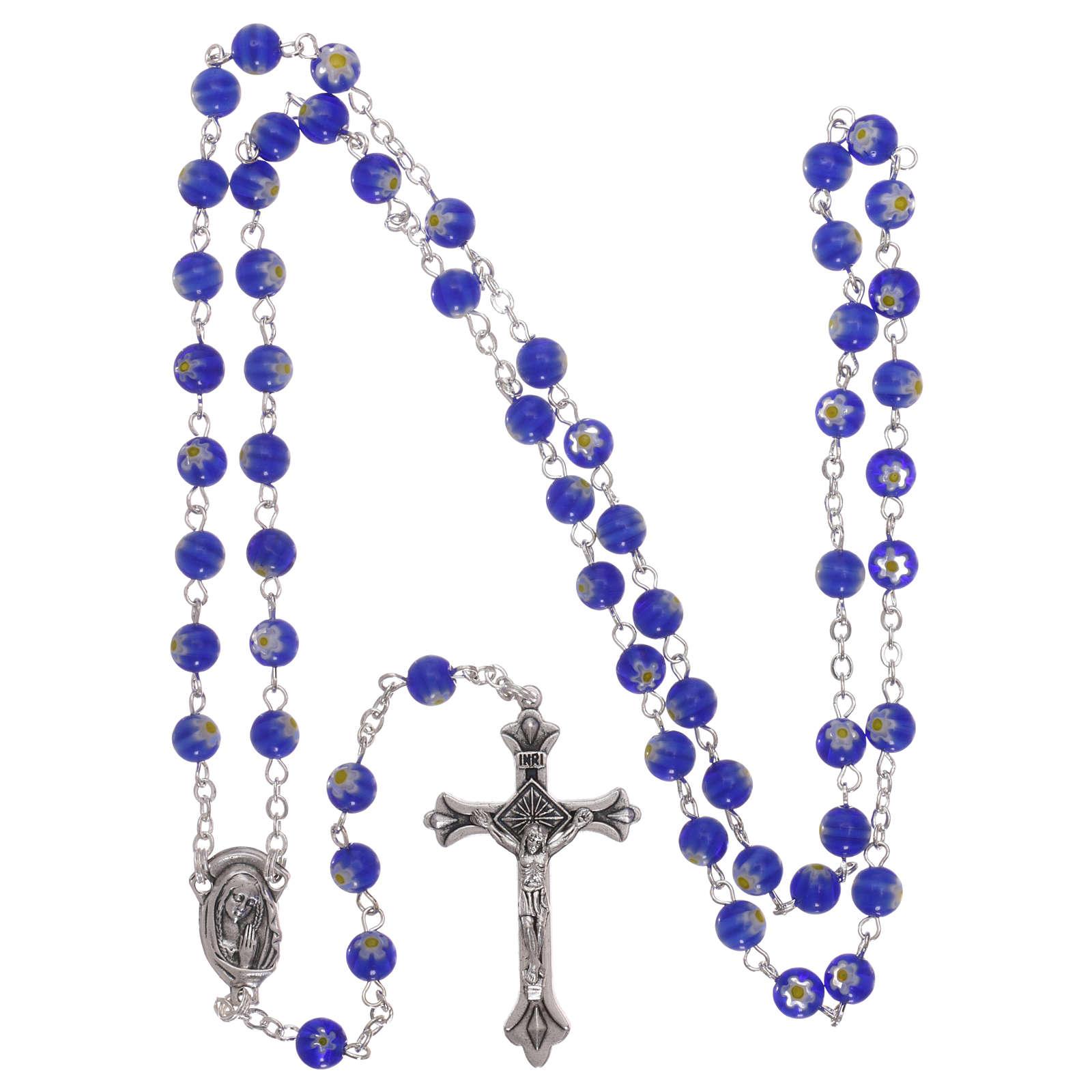 Rosario in vetro nello stile murrina blu con motivi floreali 6 mm 4