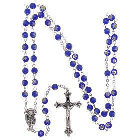 Rosario in vetro nello stile murrina blu con motivi floreali 6 mm s4