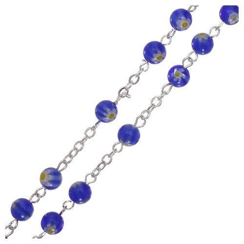Rosario in vetro nello stile murrina blu con motivi floreali 6 mm 3