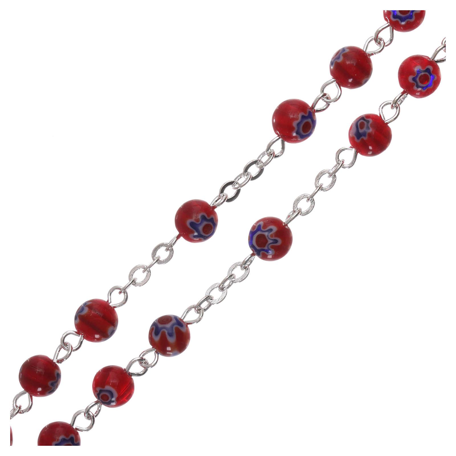 Chapelet en verre style murrina rouge avec motif floral et rayures 6 mm 4