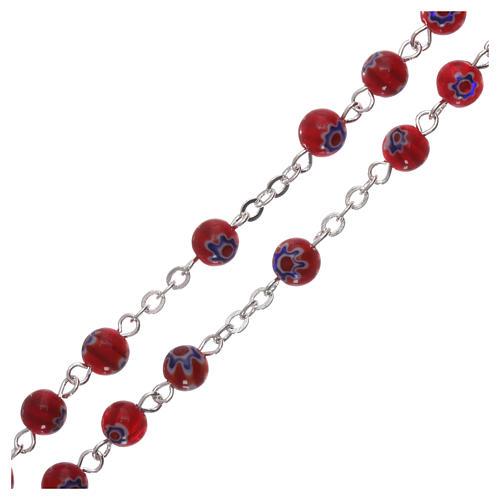 Chapelet en verre style murrina rouge avec motif floral et rayures 6 mm 3