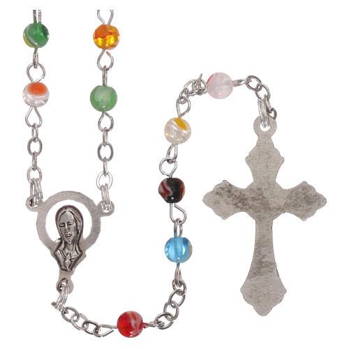 Rosenkranz mit vielfarbigen Perlen aus Murano-Glas-Imitation 4 mm 2