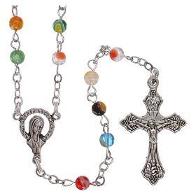 Murano glass rosaries: Rosary with multicoloured beads in fake Murano glass 4 mm