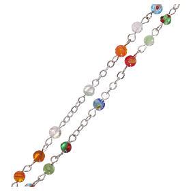 Rosario granos vidrio multicolor imitación Murano 4 mm s3