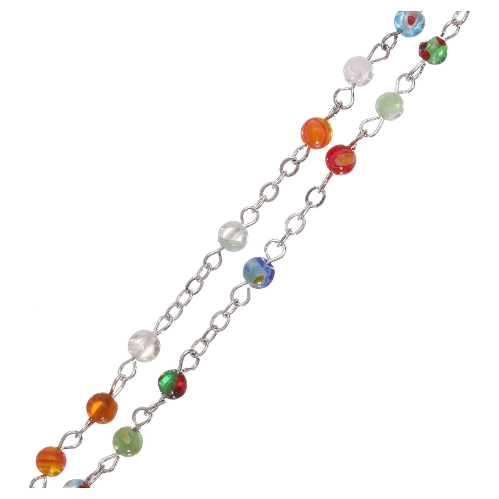 Rosario con grani in vetro multicolore imitazione Murano 4 mm 4
