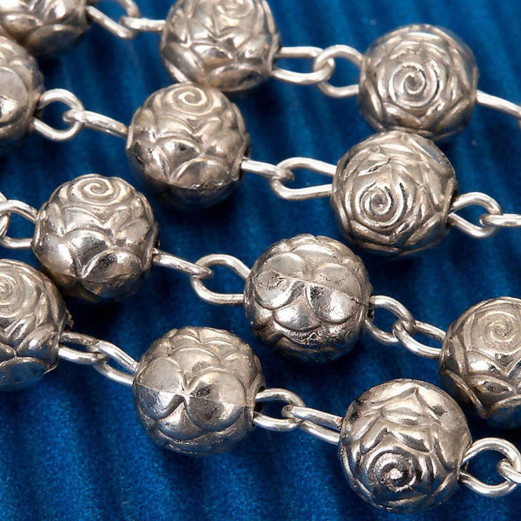 Rosario roselline metallo argentato 4