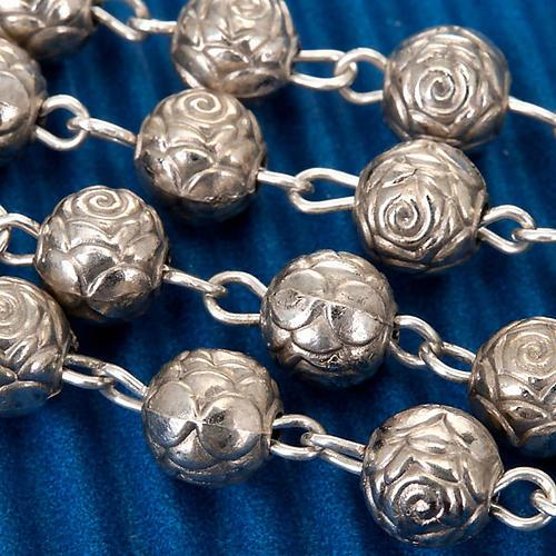 Rosario roselline metallo argentato 3